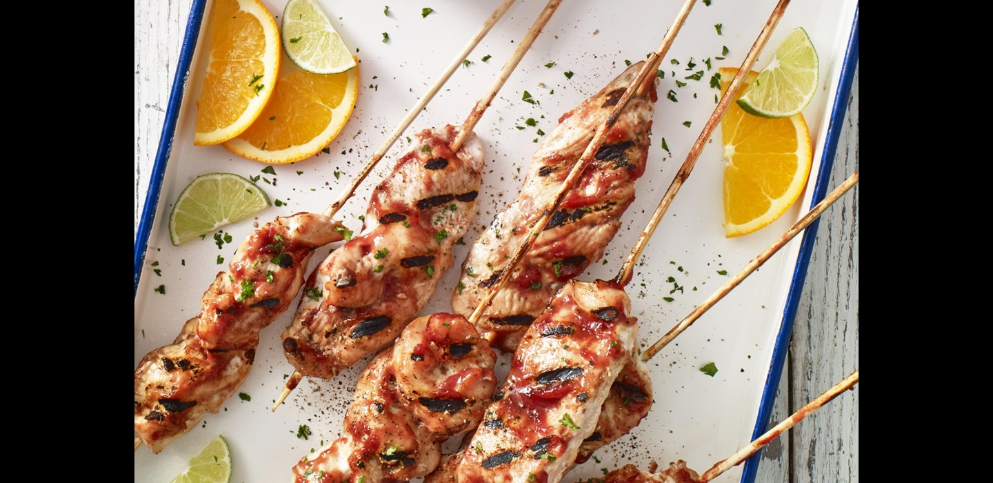 Tequila Sunrise Chicken Skewers