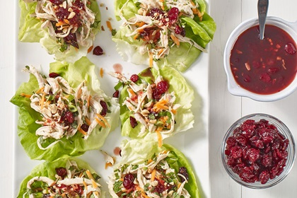 Triple Cranberry Chicken Lettuce Wraps
