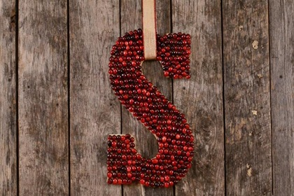Cranberry Monogram Christmas Wreath