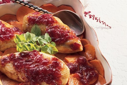 Cranberry Roast Chicken and Sweet Potatoes