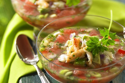 Fire and Ice Grapefruit Gazpacho with Crabacado Relish