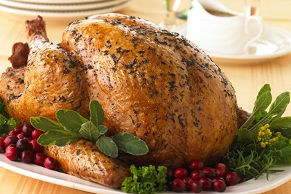 Fresh Thyme-Rubbed Turkey with White Cranberry Baste