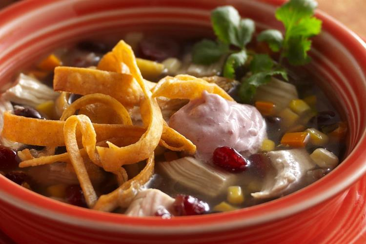 Kickin' Chicken Tortilla Soup with Zesty Cranberry Crème Fraîche