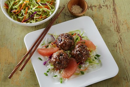 Korean Meatballs with Spicy Grapefruit Glaze