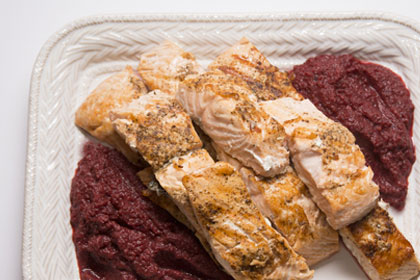 Oven Roasted Salmon with Ginger Roasted Beet Puree & Toasted Pistachios