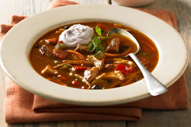 Savory Chili Chicken Soup with Cranberry Crème