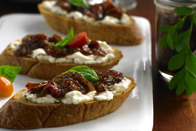 Burrata Crostini with Spicy Grapefruit-Tomato Jam