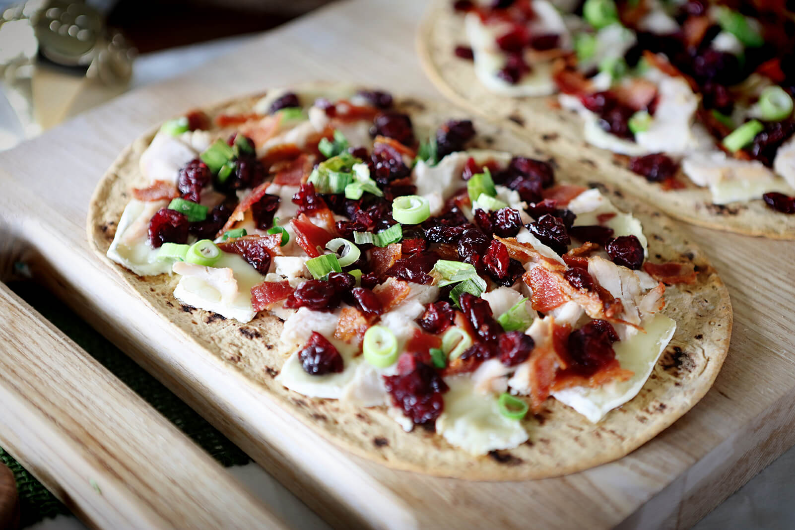Turkey Cranberry Flatbread Appetizer