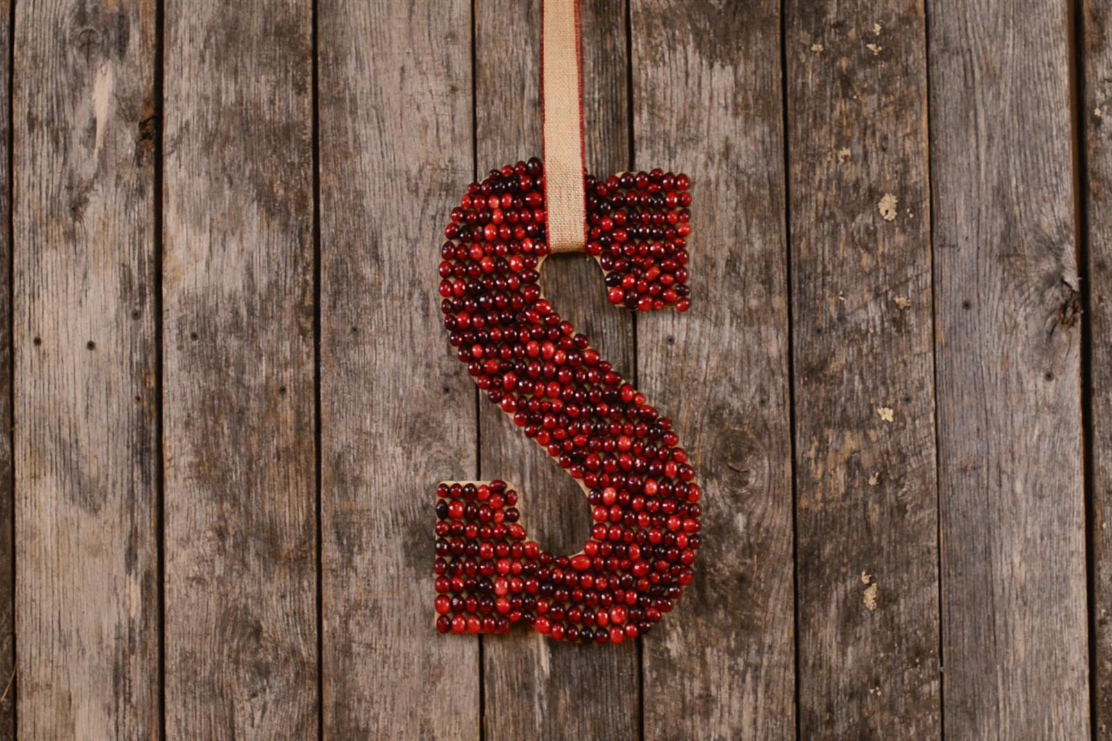 Cranberry Monogram Christmas Wreath
