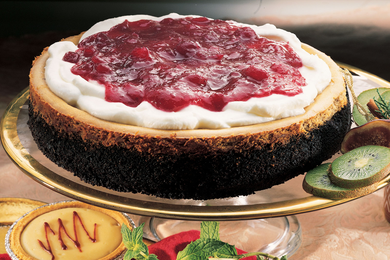 Chocolate Espresso Cheesecake with Cranberry Topping