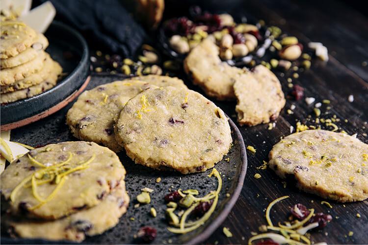 Craisin Lemon Pistachio White Chocolate Shortbread Cookies