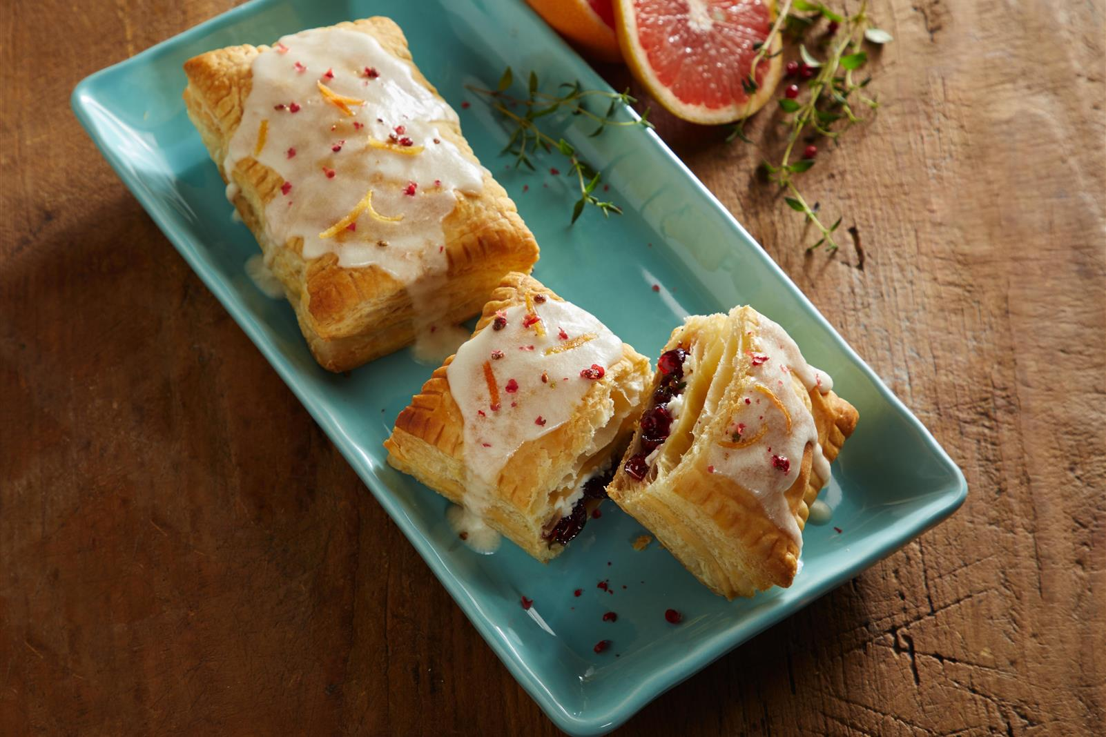 Cranberry Grapefruit Cheese Tarts with Zesty Thyme & Pink Peppercorn Sprinkles
