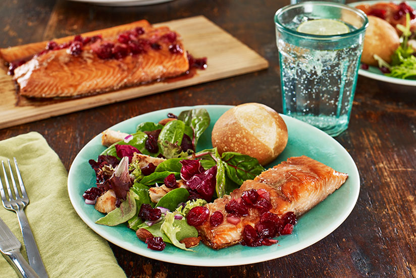 Cedar Planked Salmon with Spiced Cranberry Relish