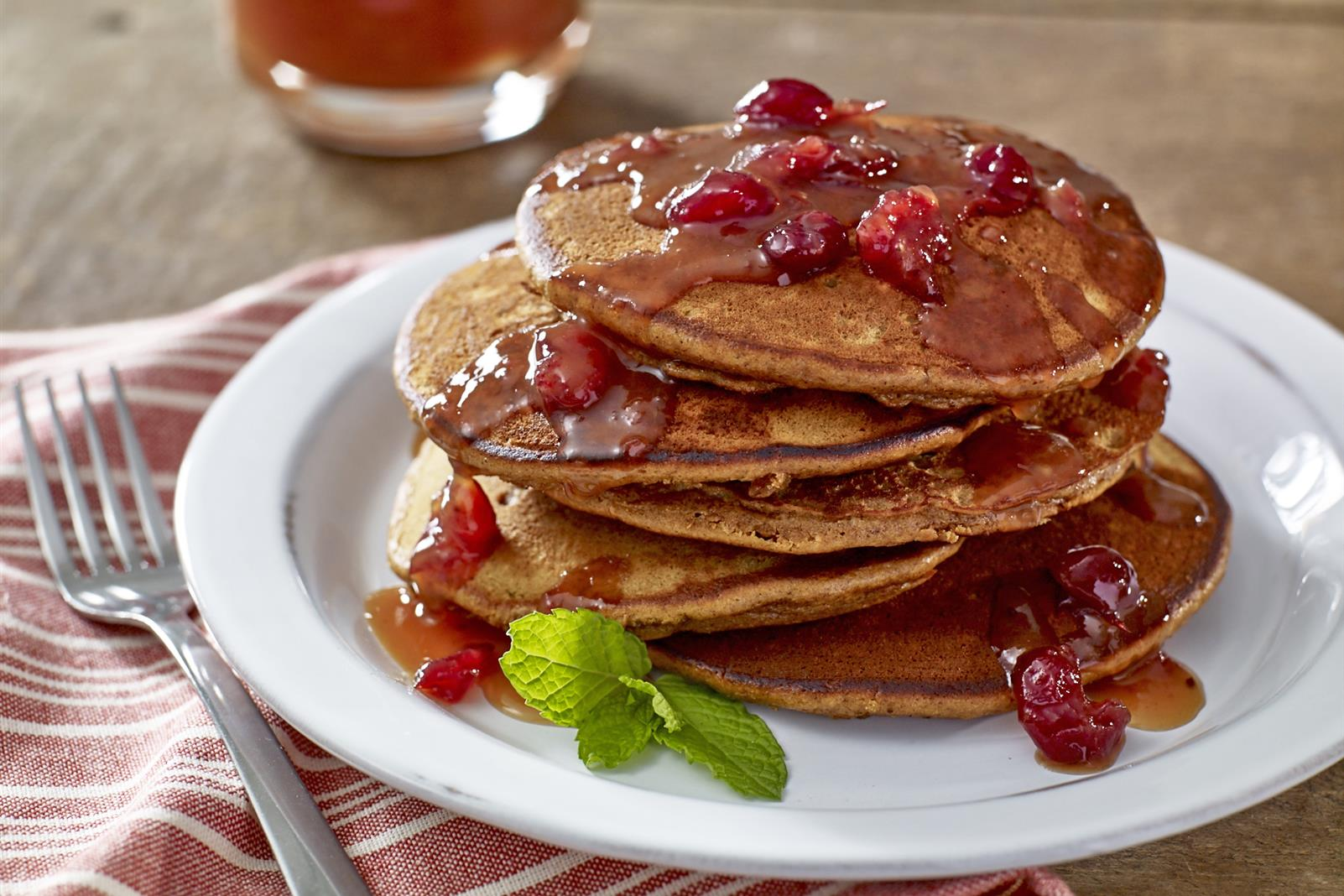 Gingerbread Pancakes with Cranberry Orange Syrup