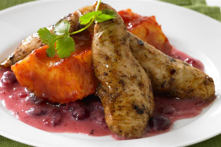 Jerk Chicken with Cranberry Coconut Sauce & Chili Pineapple