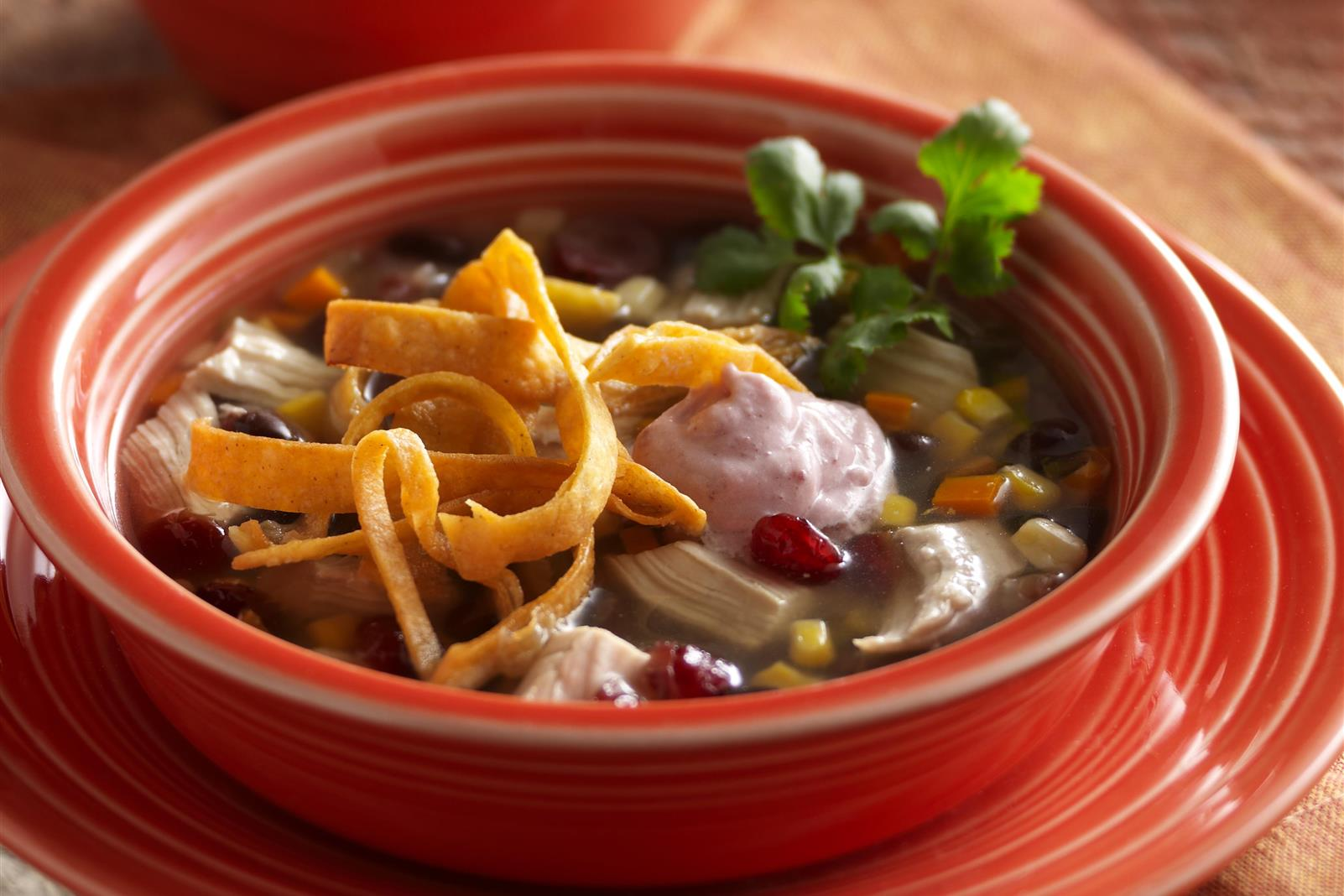 Kickin' Chicken Tortilla Soup with Zesty Cranberry Crème Fraîche