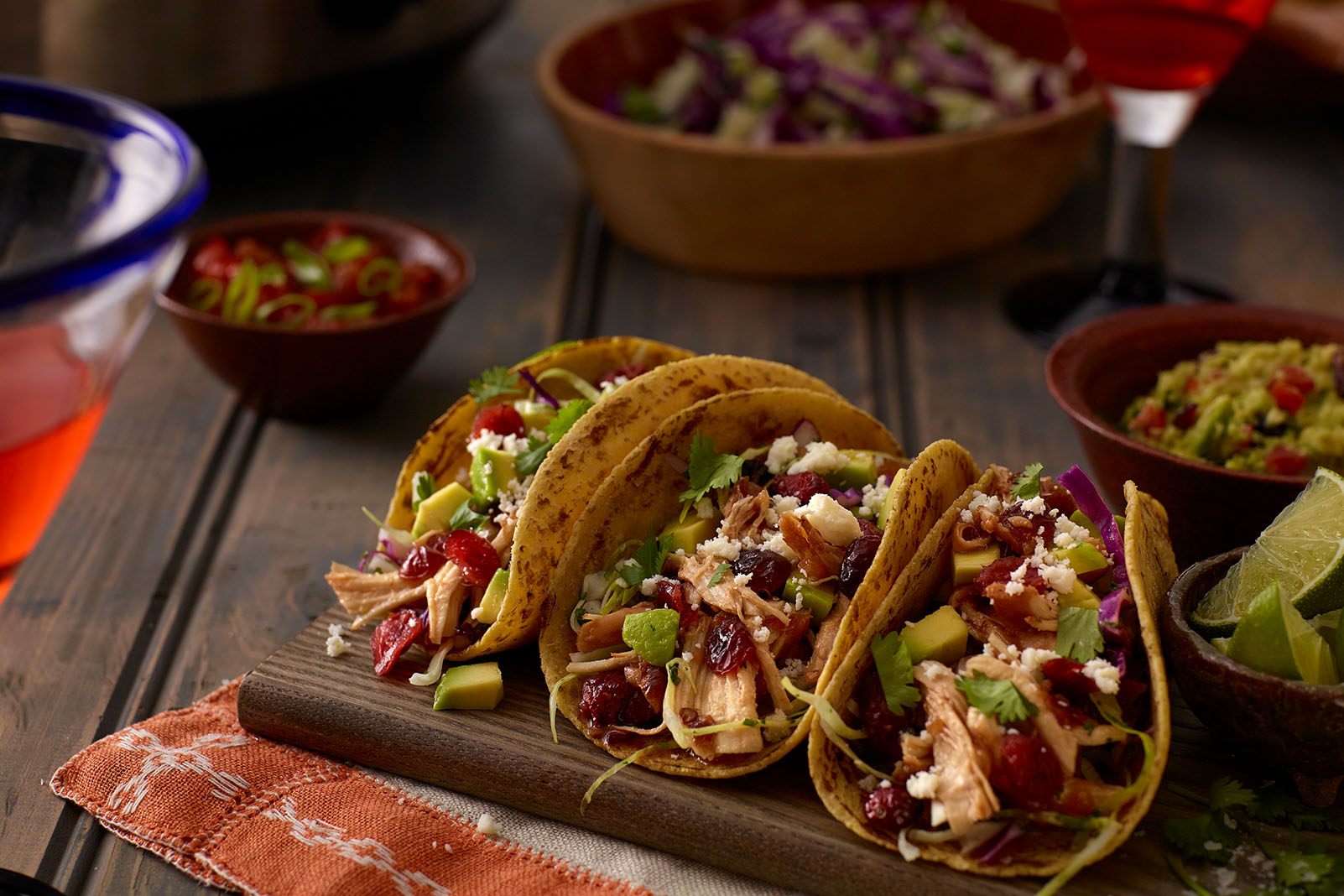 Cranberry Chipotle Chicken Tacos