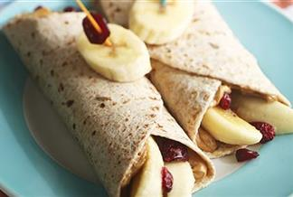Peanut Butter, Banana and Craisins® Dried Cranberries Roll-ups