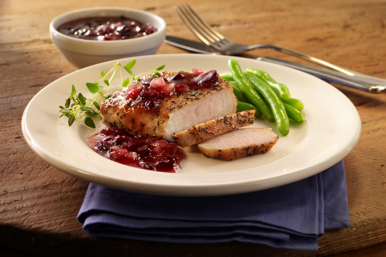 Pork Chops with Cranberry Blueberry Sauce