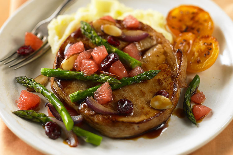 Ruby Glazed Pork Chops with Grapefruit & Asparagus Relish