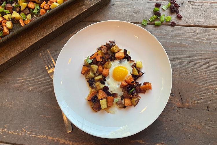 Weekend Sweet Potato and Bacon Sheet Pan Breakfast
