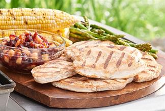 Grilled Turkey Cutlets with Spicy Cranberry Chutney