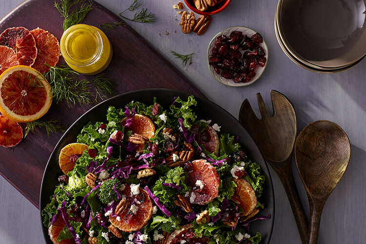Winter Kale Salad with Blood Orange and Craisins® Dried Cranberries