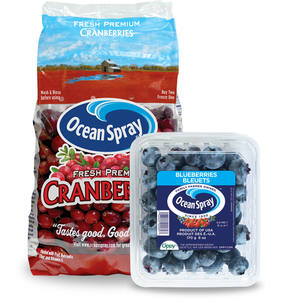 Cranberry and blueberry fresh fruits pack-shots