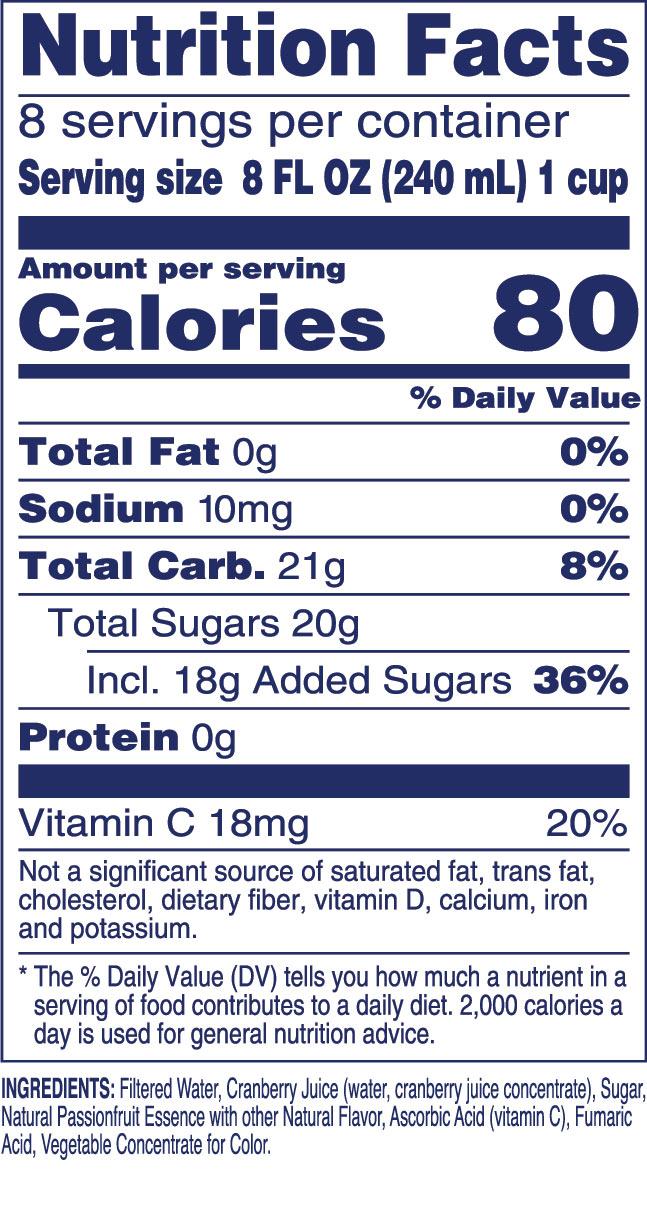 Pink Cranberry Passionfruit Nutrition Label